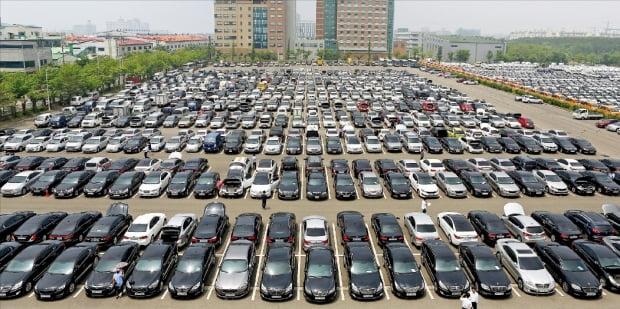 현대글로비스 경기 시화 자동차 경매장에 매각을 앞둔 중고차들이 주차돼 있다.  사진=현대글로비스