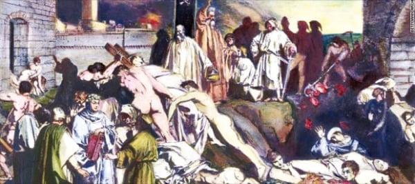 지오바니 보카치오가 그린 14세기 피렌체의 역병 환자.