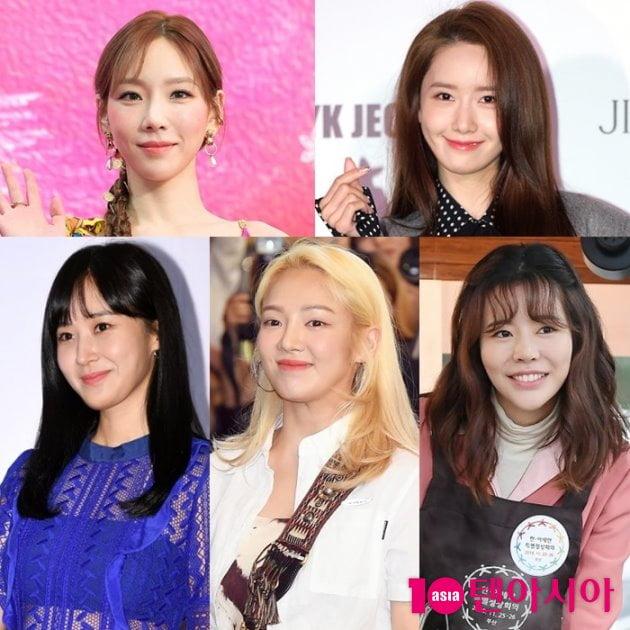 걸그룹 소녀시대 태연-윤아-써니-효연-유리(왼쪽 위부터 시계방향). 사진 = 텐아시아 사진DB