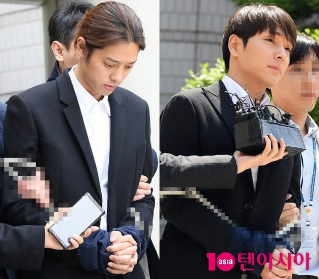 집단 성폭행 혐의 등으로 실형을 선고받은 가수 정준영(왼쪽), 최종훈 / 사진=텐아시아DB
