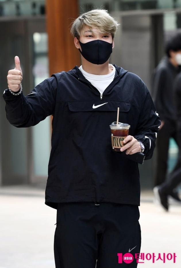 [TEN 포토] 김경민 '오늘도 최고로 열심히 하겠습니다'