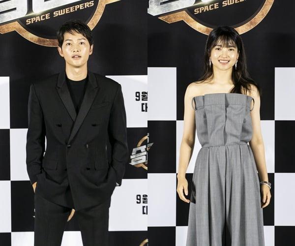영화 '승리호' 주연배우 송중기(왼쪽)와 김태리/ 사진제공=메리크리스마스