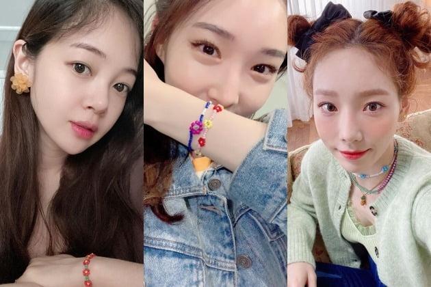 비즈 액세서리로 스타일링한 김보미, 청하, 태연 / 사진=인스타그램