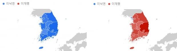 지역별 검색빈도. 왼쪽은 지난 4월, 오른쪽은 지난달. 자료=구글
