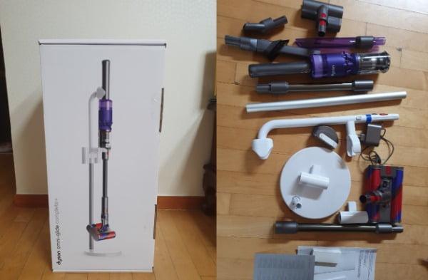 (좌측부터) 다이슨 '옴니글라이드' 신제품 박스와 구성품/사진=배성수 한경닷컴 기자