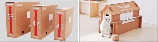 삼성전자가 지난 4월 공개한 라이프스타일 TV 포장재 '에코패키지'. TV 박스를 조립해 반려동물집 등을 만들 수 있다. 삼성전자 제공