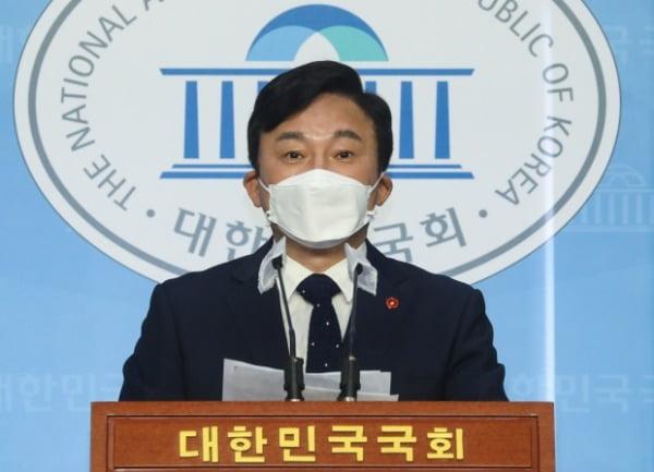 원희룡 제주도지사가 20일 오전 서울 여의도 국회 소통관에서 기자회견을 열고 일본 후쿠시마 오염수 방류 중단을 촉구하고 있다. 뉴스1