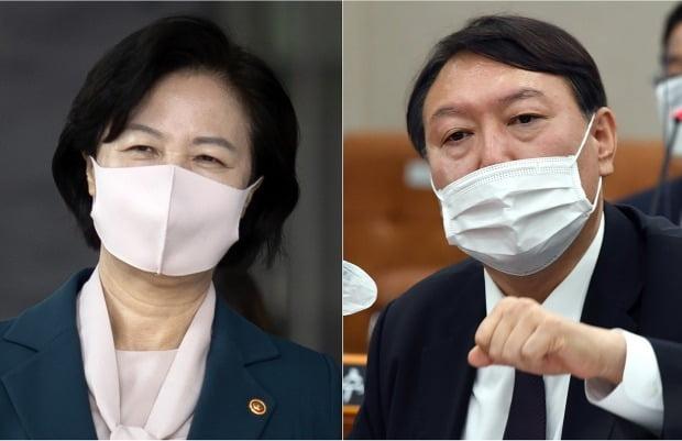 추미애 법무부 장관(왼쪽)이 윤석열 검찰총장.(사진=연합뉴스)
