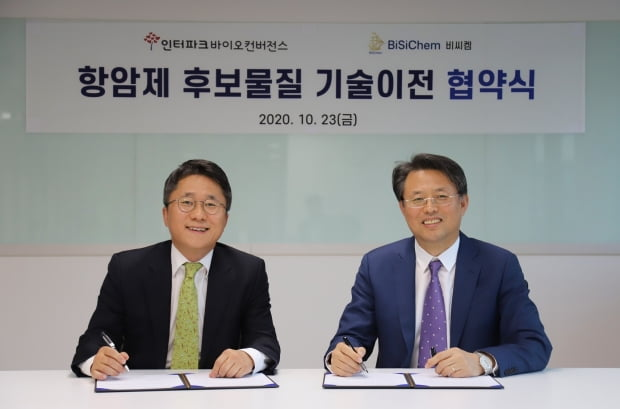 왼쪽부터 홍준호 인터파크바이오컨버전스 대표와 서정법 비씨켐 대표.