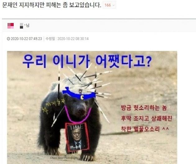 대표적인 친여 온라인 커뮤니티 클리앙 갈무리.