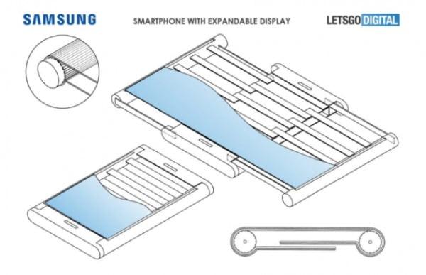 최근 미국 특허청에서 공개된 삼성전자의 롤러블폰 디스플레이 특허 이미지/사진=레츠고디지털 캡처