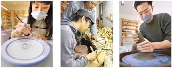 왼쪽부터 김하영 아담하우스 작가, 신민웅 서진공예 작가, 성시문 아담하우스 작가. 김범준 기자 bjk07@hankyung.com