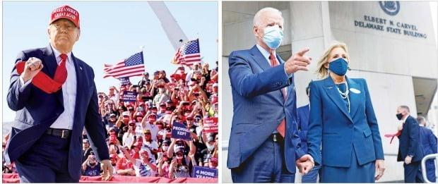 도널드 트럼프 미국 대통령이 28일(현지시간) 대선 경합주로 꼽히는 애리조나주 피닉스에서 유세를 펼치며 주먹을 굳게 쥐고 있다.(왼쪽) 조 바이든 민주당 후보는 이날 델라웨어주 윌밍턴에 있는 주정부 청사에서 부인 질 바이든 여사와 함께 사전투표를 마쳤다.(오른쪽)  /로이터연합뉴스