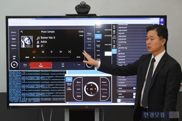 황도연 오비고 대표가 자동차 제조사들이 오비고 플랫폼을 차량에 적용하는 시스템에 대해 설명하고 있다. (사진 = 최혁 한경닷컴 기자)