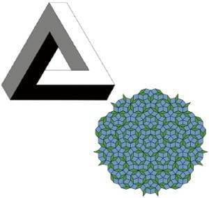 펜로즈 삼각형(위)과 펜로즈 타일. 출처=위키피디아