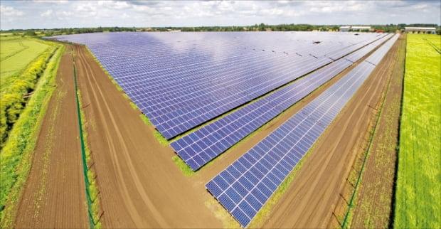 한화큐셀이 2014년 영국 케임브리지 스토브리지에 건설한 태양광발전소. 한화 제공