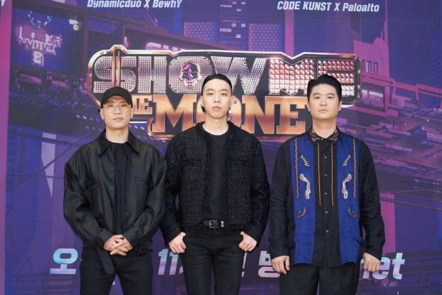 '쇼미더머니9' 프로듀서 다이나믹듀오 개코(왼쪽부터), 비와이, 최자/ 사진=Mnet 제공