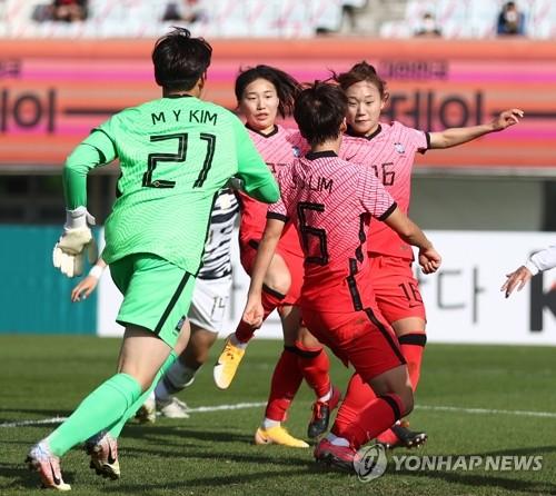 장슬기 결승골…여자축구 '자매 대결'서 A대표팀 1-0 진땀승