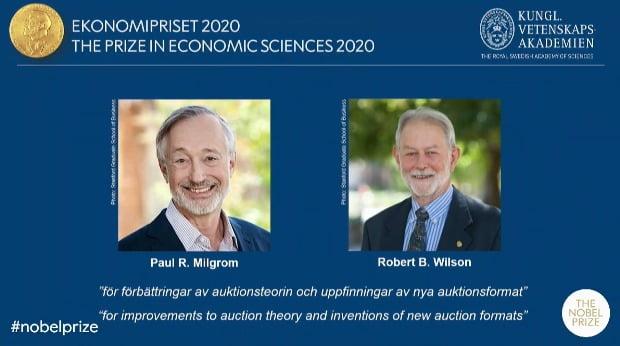 스웨덴 왕립과학원 노벨위원회는 12일(현지시간) 폴 밀그럼과 로버트 윌슨 미국 스탠퍼드대 교수를 2020년 노벨경제학상 수상자로 선정했다고 발표했다.(사진=연합뉴스)
