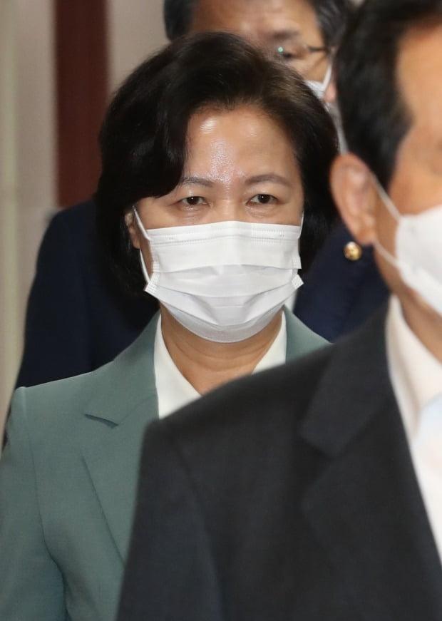 추미애 법무부장관이 20일 오전 서울 종로구 정부서울청사에서 화상으로 열린 국무회의에 참석하고 있다. (사진=뉴스1)