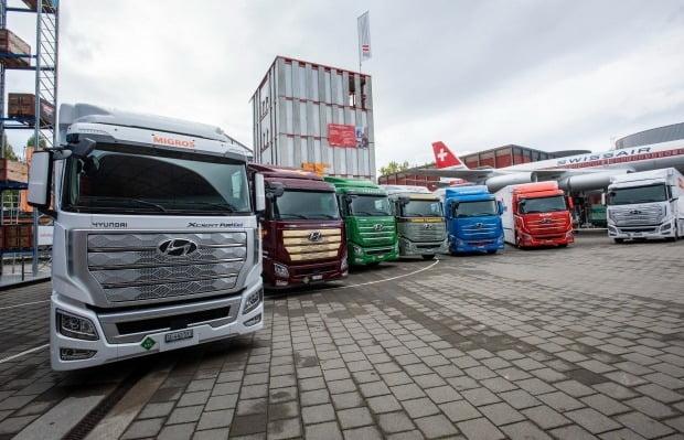 스위스로 수출된 현대차 수소전기트럭 엑시언트. 사진=현대차