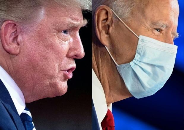 미국 공화당 대선 후보인 도널드 트럼프(왼쪽) 대통령과 민주당 후보인 조 바이든(오른쪽) 전 부통령의 얼굴 모습을 나란히 배치한 콤보 사진. 사진=연합뉴스