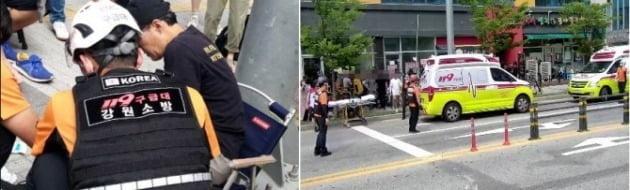 SBS 월화드라마 '펜트하우스' 촬영 중 발생한 차량 돌진 사고/사진=강원도소방본부