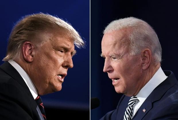 도널드 트럼프(왼쪽) 미국 대통령과 조 바이든 민주당 대선 후보가 9월 29일(현지시간) 오하이오주 클리블랜드에서 대선후보 첫 TV토론을 벌이고 있다. 사진=클리블랜드 AFP/연합뉴스