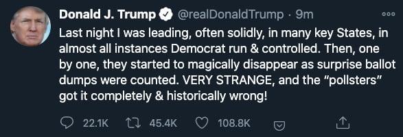 출처=도널드 트럼프 미국 대통령 트위터