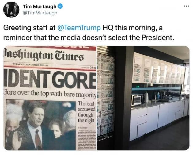 트럼프 대선캠프 팀 머토 대변인이 8일(현지시간) 트위터에 올렸다가 삭제한 '고어 대통령' 기사가 담긴 사진. 신문사 측은 조작된 사진이라고 해명했다. 사진 출처=머토 대변인 트위터