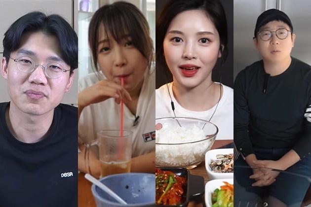 (왼쪽부터) 보겸, 쯔양 , 문복희, 오가나 /사진=유튜브 캡쳐