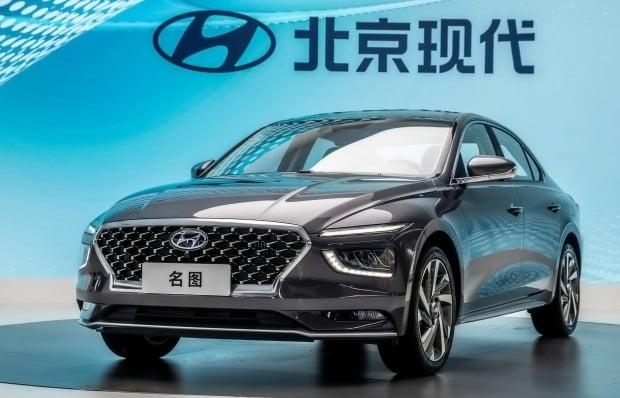 현대차가 2020 광저우 국제모터쇼에서 현지 전략 중형 세단 2세대 밍투를 공개했다. 사진=현대차
