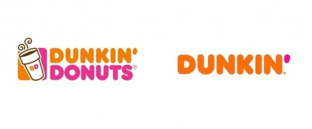 던킨도넛 과거 로고와 현재 로고 [사진=던킨]