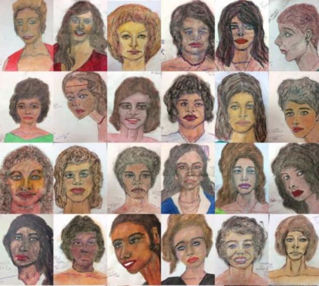 리틀이 직접 그린 피해자들의 초상화 [EPA=연합뉴스 자료사진]