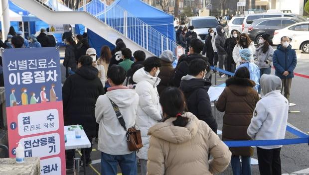 신종코로나바이러스감염증(코로나19) 신규 확진자 수가 26일 0시 기준 583명 늘어 8개월여 만에 5백 명대를 기록했다. 시민들이 서울 동작구청에 마련된 선별진료소에소 코로나19 검사를 받기위해 줄을 서서 기다리고 있다. 사진=신경훈 기자 khshin@hankyung.com