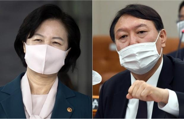 추미애 법무부 장관(왼쪽)과 윤석열 검찰총장. / 사진=연합뉴스