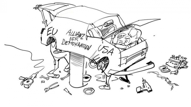 미국과 유럽간 가치연대를 강조한 만평/한델스블라트 홈페이지 캡쳐