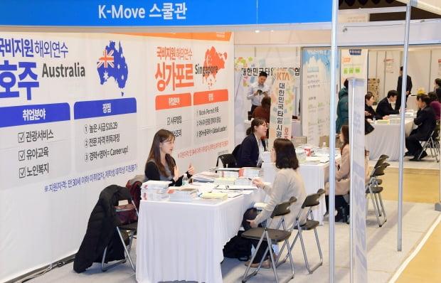 해마다 해외취업으로 눈을 돌리는 구직자들이 늘고 있다. 코로나19에도 불구하고 올해 해외취업자는 3416명에 달했다. 매년 서울 강남구 코엑스에서 열렸던 해외취업박람회가 올해는 온라인으로 개최됐다. /한경DB