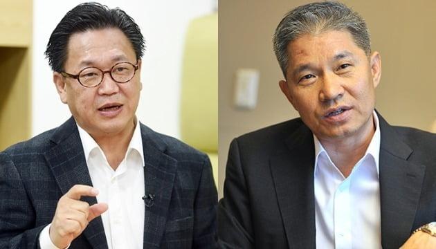 존 리 메리츠자산운용 대표(사진 왼쪽)와 강방천 에셋플러스자산운용 회장 . 사진=한경DB