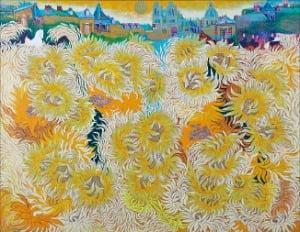 태양의 금빛 해바라기들. 145.5×112㎝ Oil on canvas 2020