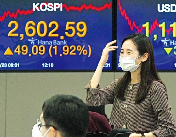 < 증시 새 역사 쓴 날 > '코스피지수 2600 시대'가 열렸다. 코스피지수는 23일 1.92% 오른 2602.59에 거래를 마쳤다. 종가 기준 사상 최고치다. 이날 서울 을지로 하나은행 딜링룸에서 직원들이 분주히 움직이고 있다.  허문찬 기자 sweat@hankyung.com