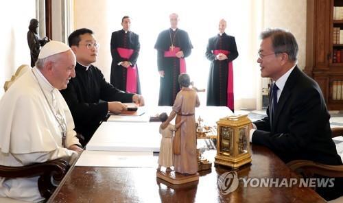 """교황 """"북한 방문하고 싶다""""…한반도 평화 가교 의지 재확인(종합)"""