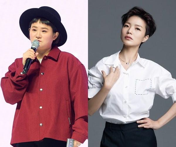 코미디언 김신영(왼쪽)과 안영미/ 사진=텐아시아DB, 안영미 SNS