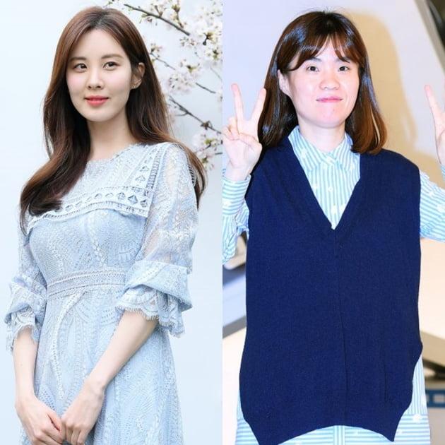 가수 겸 배우 서현(왼쪽)과 고(故) 박지선. /텐아시아DB