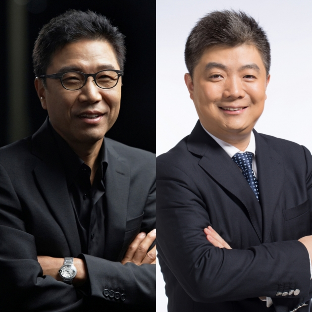(왼쪽) 이수만 총괄 프로듀서, (오른쪽) 커다쉰페이 후위 총재. 사진 = SM엔터테인먼트 제공