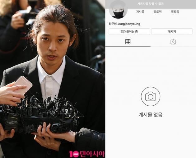 가수 정준영(왼쪽)과 그의 인스타그램 계정/ 사진=텐아시아DB, 인스타그램