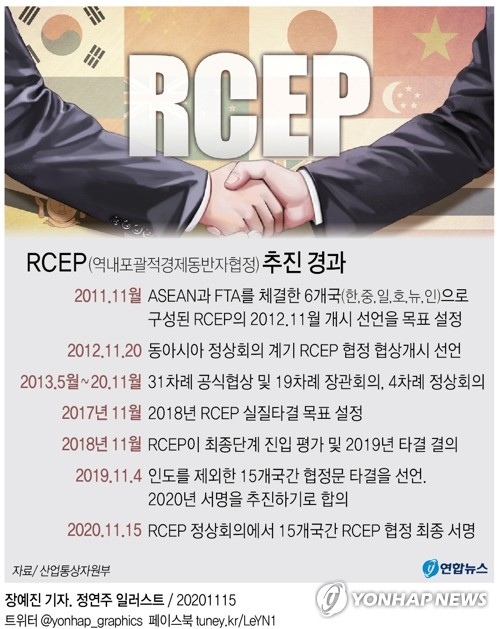 "RCEP 참가국 정상들, 공동선언 채택…""인도에 개방돼 있다"""
