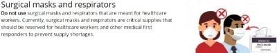 일반인은 N95 등 의료용 마스크를 써선 안 된다는 미 질병통제예방센터(CDC) 안내문. CDC 홈페이지 캡처