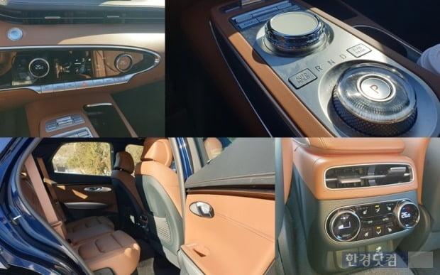 제네시스 GV70 센터페시아와 변속 다이얼 모습. 뒷좌석에는 통풍과 열선 시트 기능, USB 포트, 220V 등 편의 사양이 제공된다. 사진=오세성 한경닷컴 기자