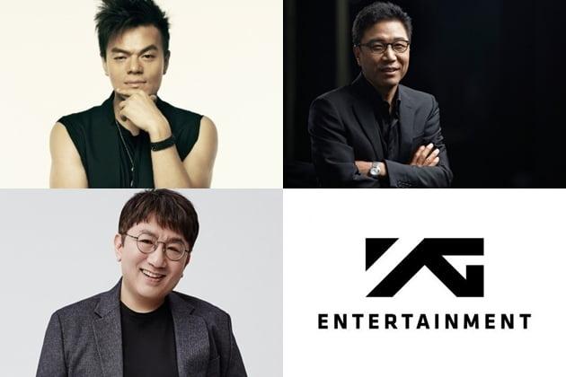 사진=JYP 박진영, SM 이수만, 빅히트 방시혁 대표 프로듀서, YG엔터테인먼트